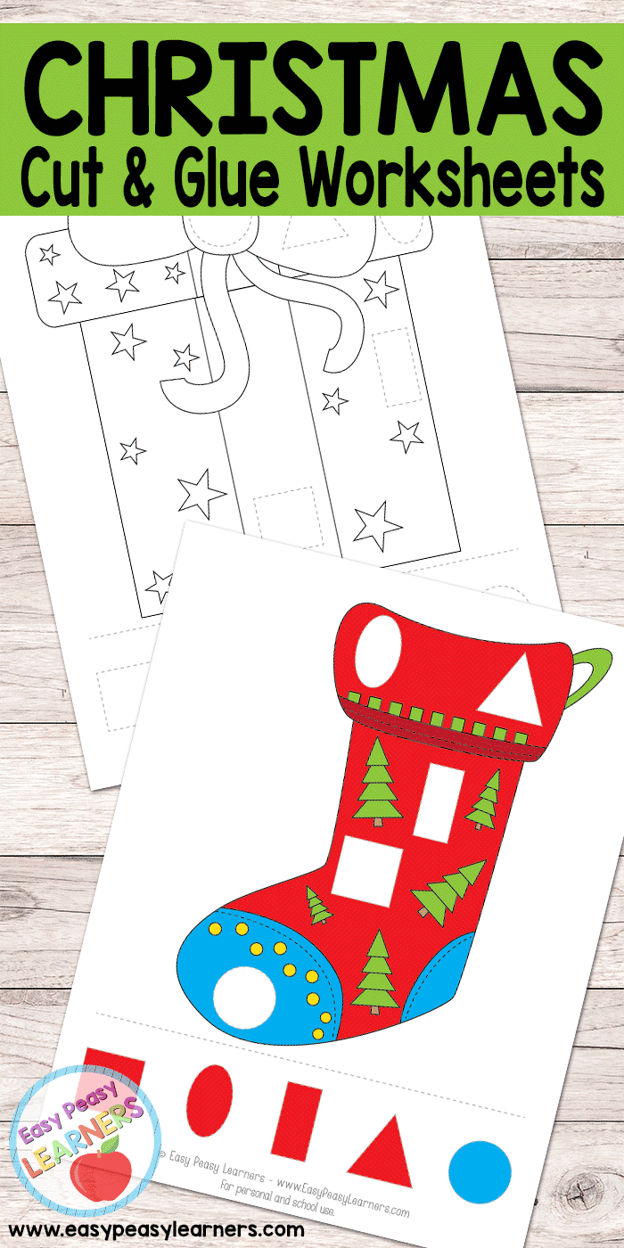 Free Christmas Cut And Glue Worksheets - Easy Peasy Learners