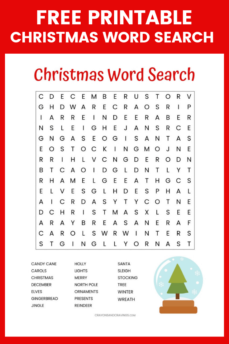 Free Christmas Word Search Printable Worksheet With 20