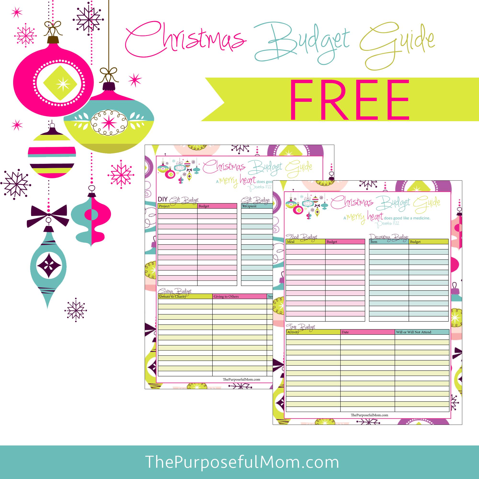 Free Printable Christmas Budget Planner - The Purposeful Mom