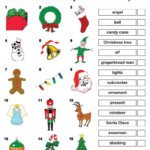 Free Printable Christmas Vocabulary Matching Worksheet