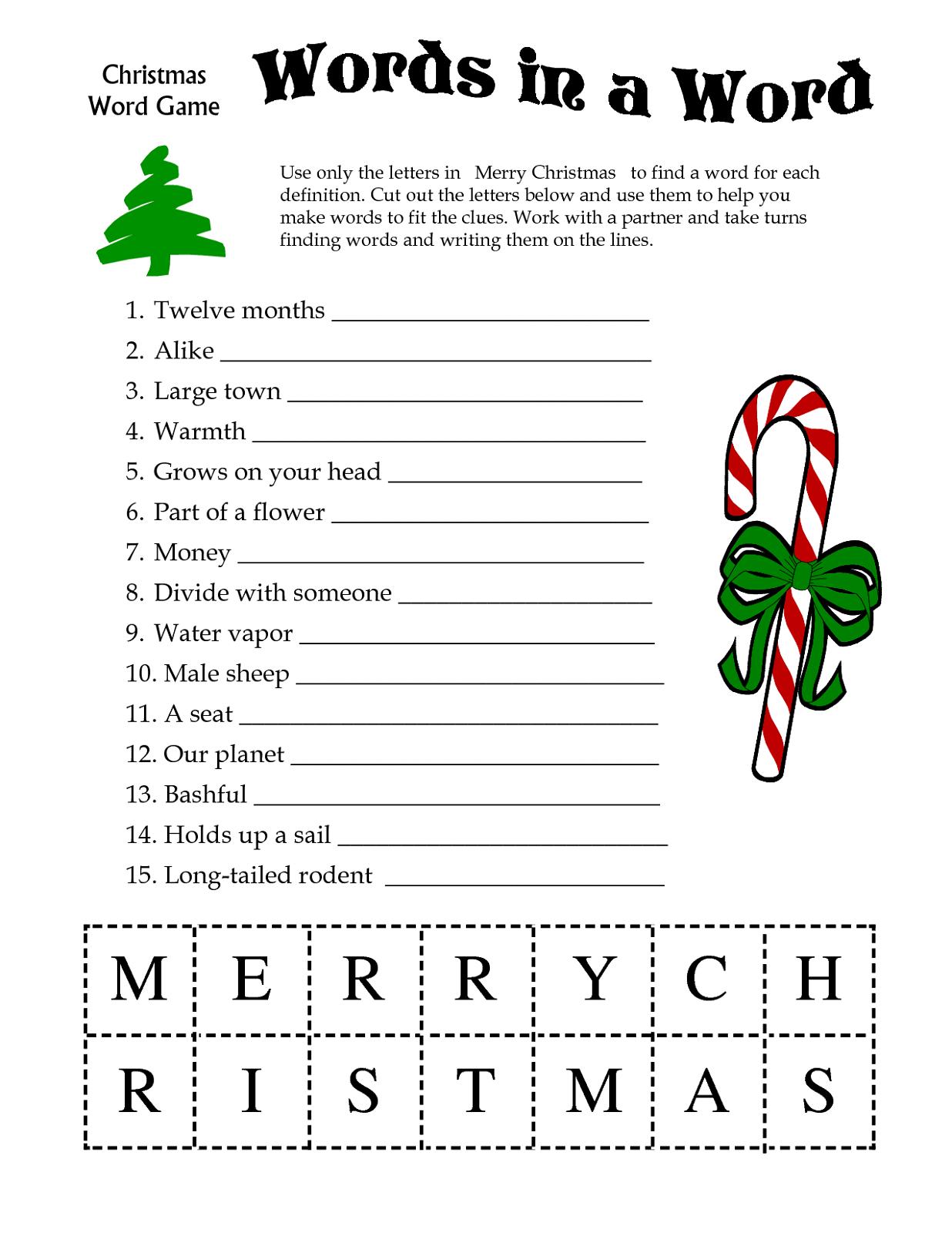 Free Printable Games For Adults   Printable Christmas Games