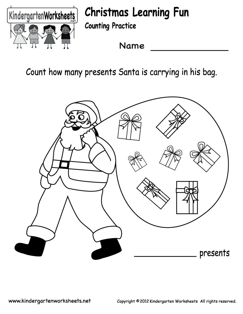 Free Printable Holiday Worksheets   Kindergarten Santa