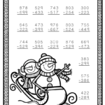 Free Three Digit Subtraction With Regrouping Winter Theme 3
