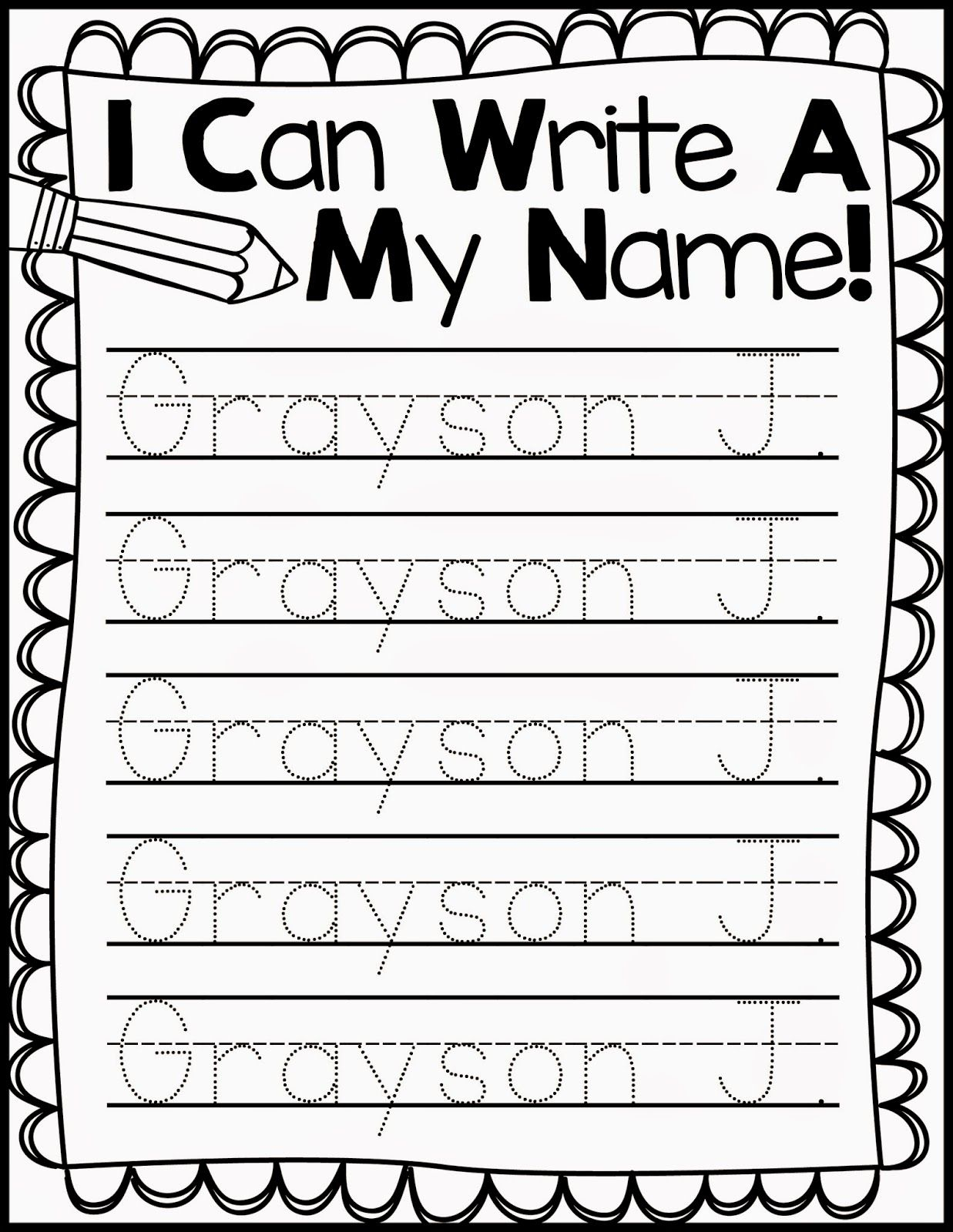 Freebie Friday* Name Handwriting Practice   Kindergarten