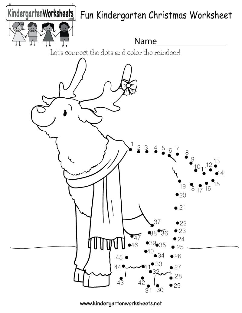 Fun Christmas Worksheet - Free Kindergarten Holiday