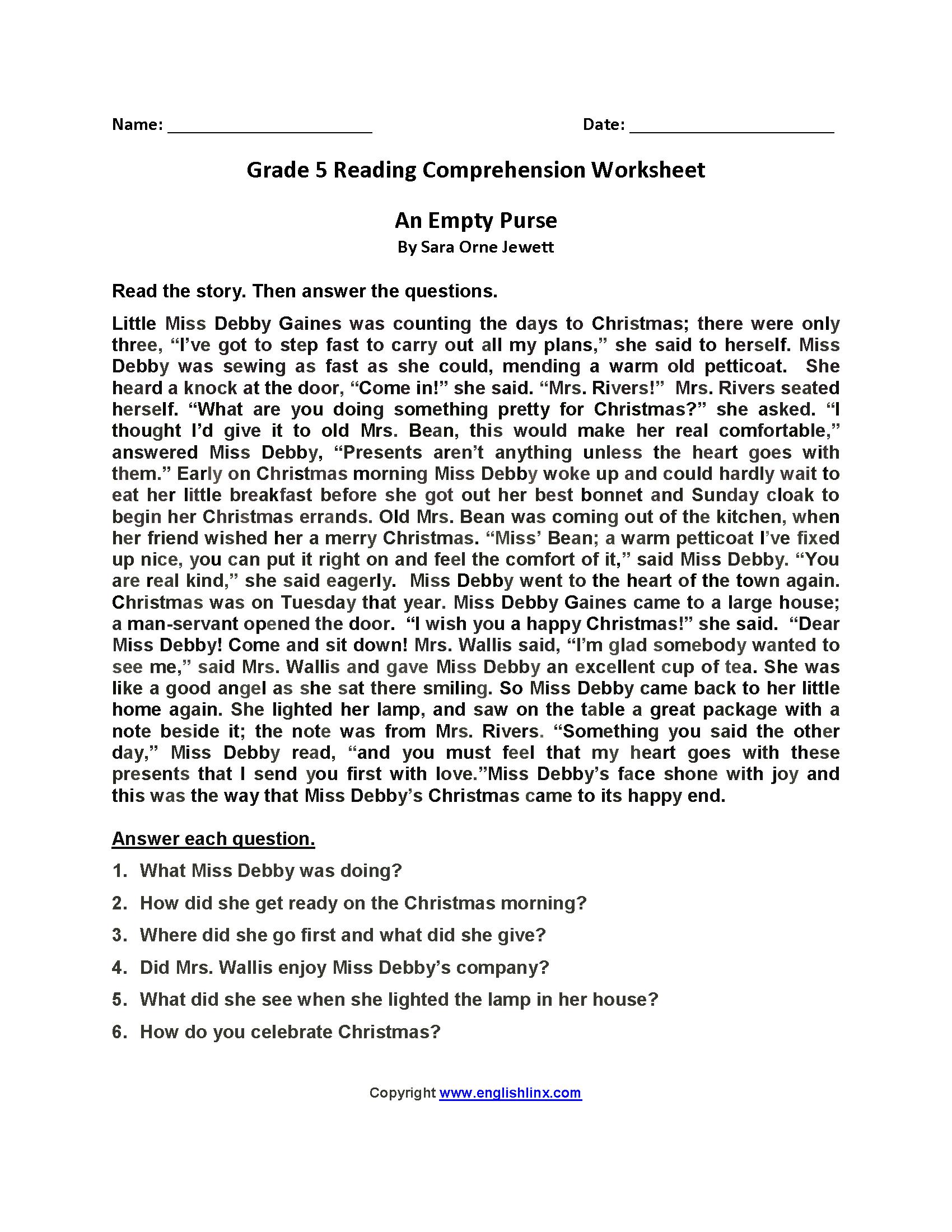 Grade 5 Reading Comprehension Worksheets Pdf