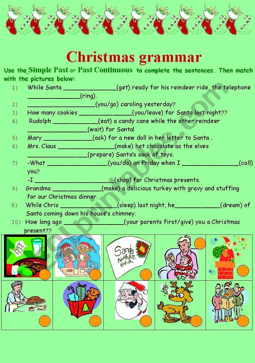 Grammar And Christmas - Esl Worksheetsofiateach