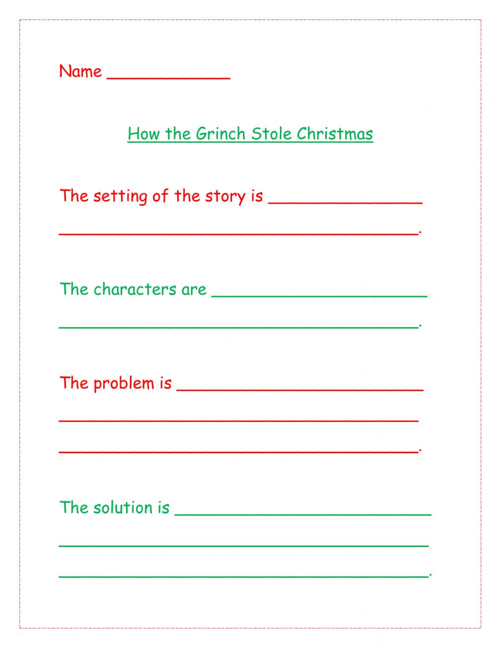 How The Grinch Stole Christmas Interactive Worksheet