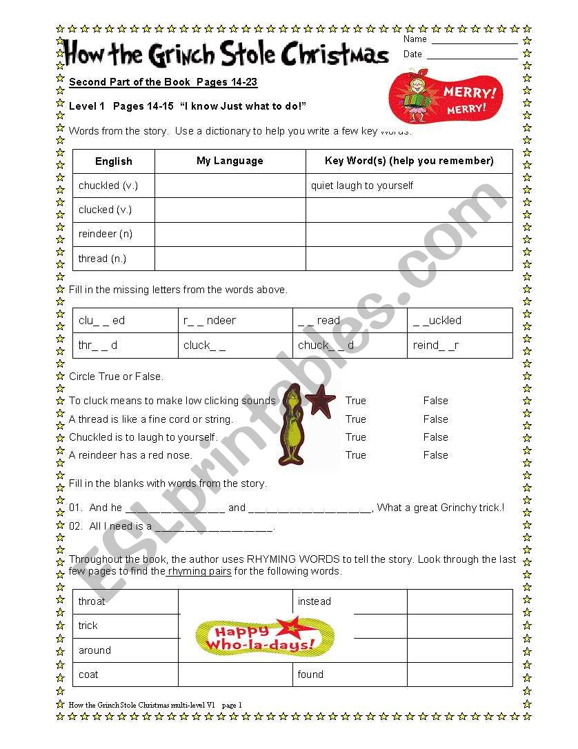 How The Grinch Stole Christmas Part 2/6 - Esl Worksheet