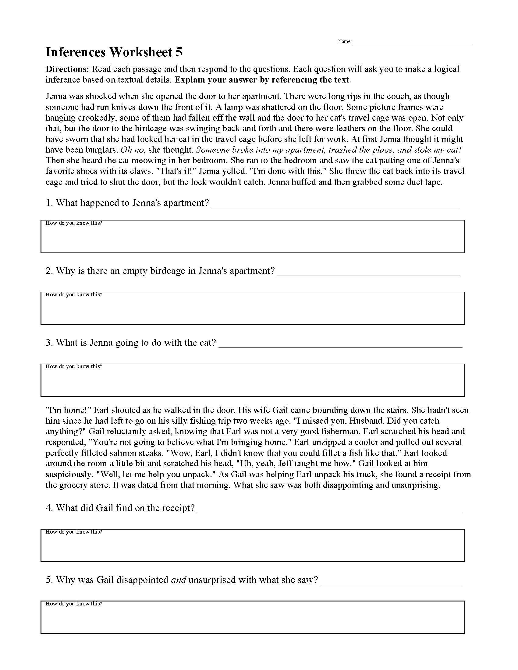 Inferences Worksheets   Ereading Worksheets