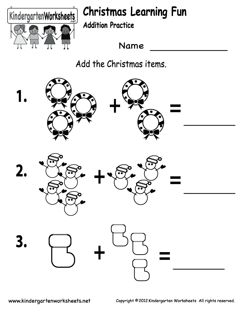 Kindergarten Christmas Addition Worksheet Printable