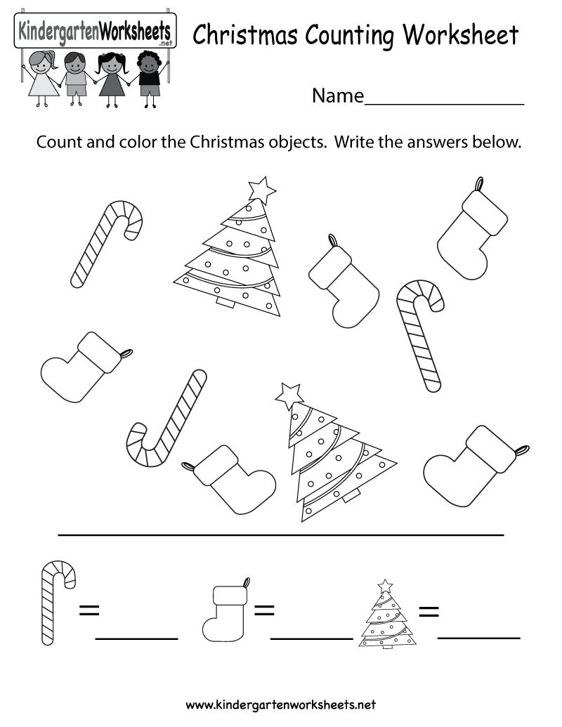 Kindergarten Christmas Counting Worksheet Printable
