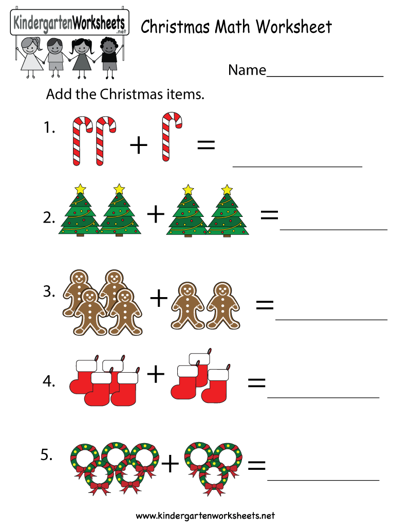 Kindergarten Christmas Math Worksheet Printable   Christmas