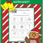 Kindergarten Christmas Phonics Worksheet | Phonics