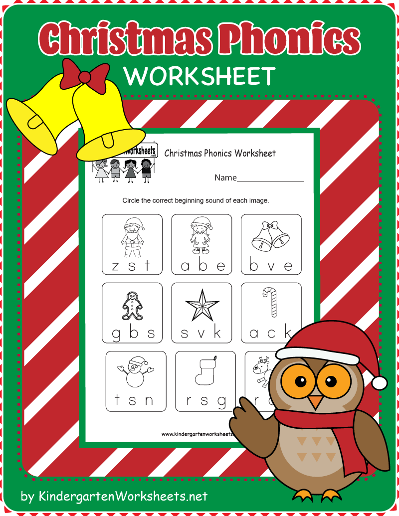 Kindergarten Christmas Phonics Worksheet   Phonics