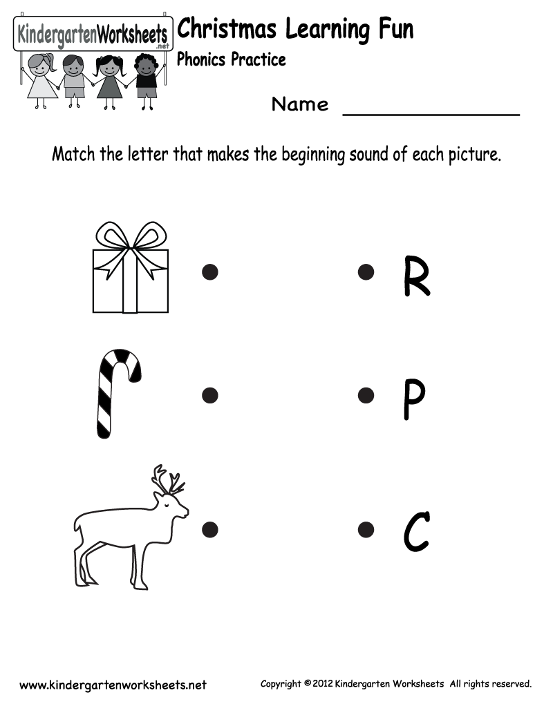 Kindergarten Christmas Phonics Worksheet Printable | Phonics
