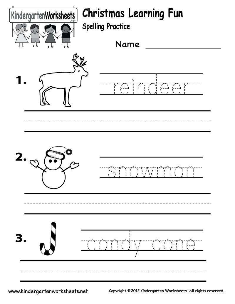 Kindergarten Christmas Spelling Worksheet Printable