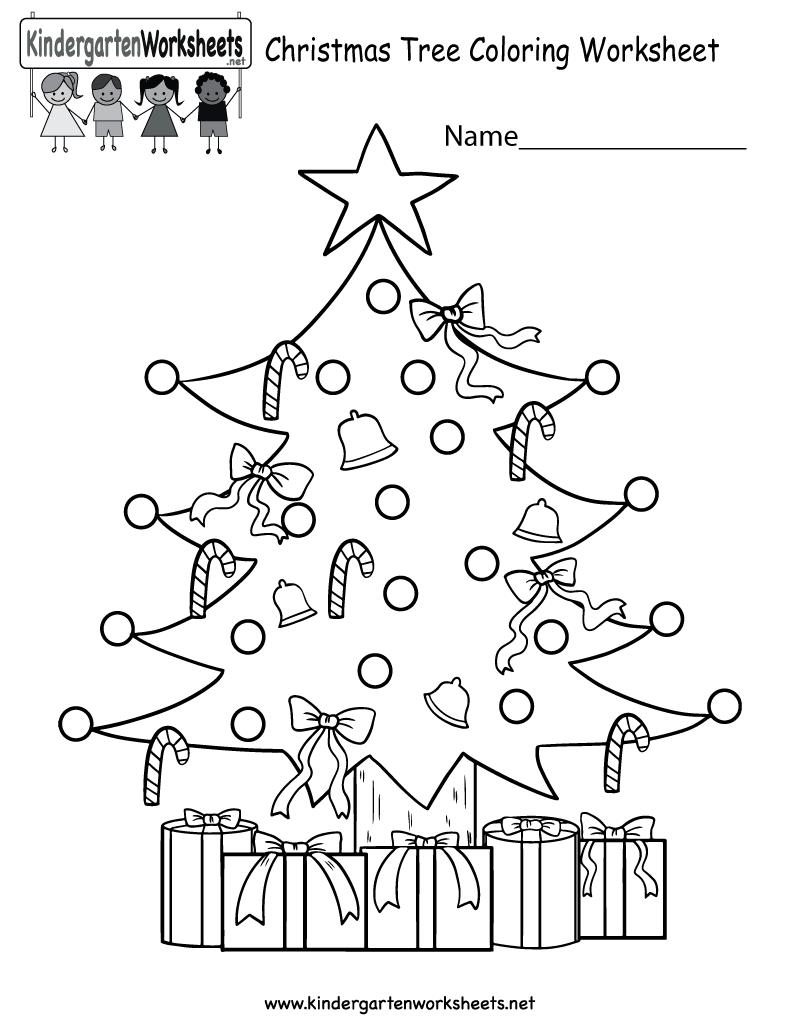 Kindergarten Christmas Tree Coloring Worksheet Printable