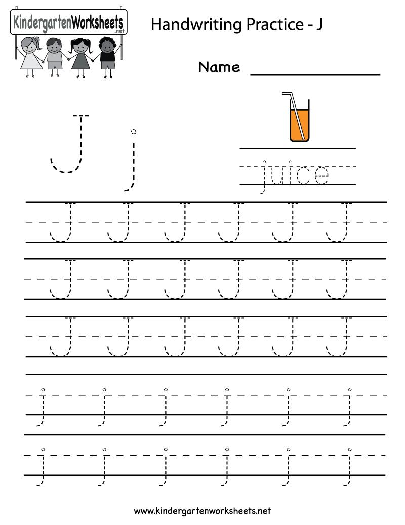 Kindergarten Letter J Writing Practice Worksheet Printable