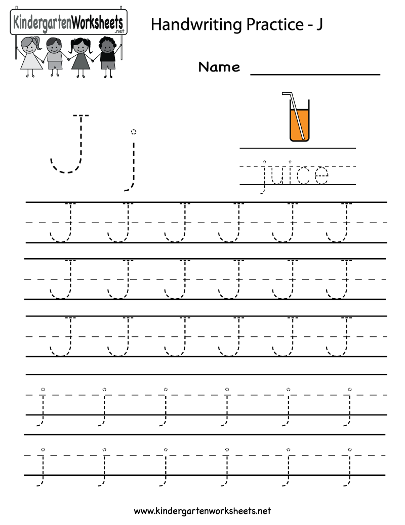 Kindergarten Letter J Writing Practice Worksheet Printable