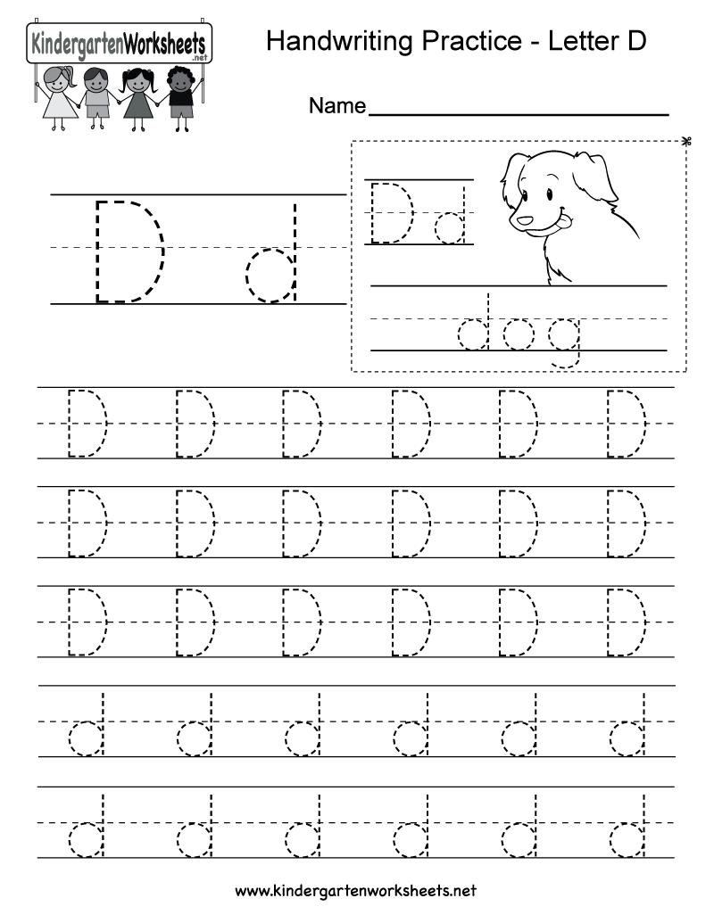 Letter D Writing Practice Worksheet - Free Kindergarten