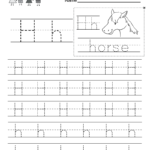 Letter H Writing Practice Worksheet - Free Kindergarten