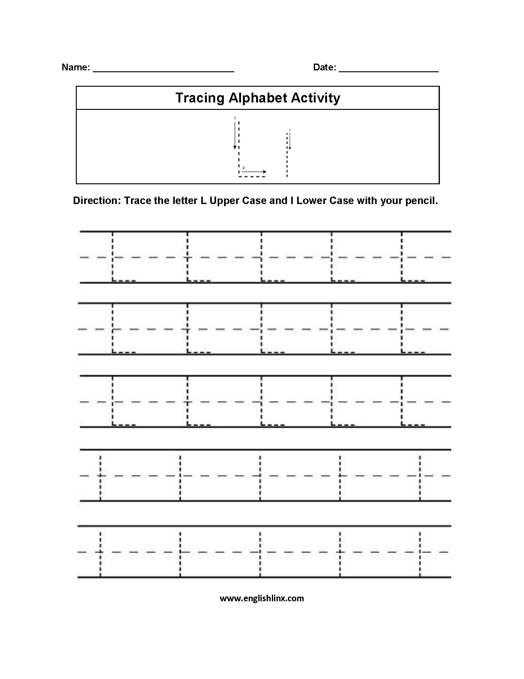 Letter L Tracing Alphabet Worksheets   Alphabet Worksheets