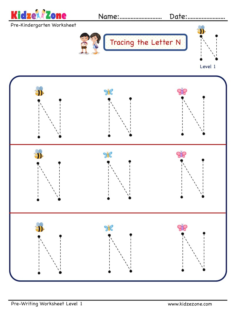 Letter N Tracing Worksheet - Kidzezone