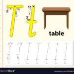 Letter T Tracing Alphabet Worksheets Royalty Free Vector