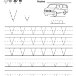 Letter V Writing Practice Worksheet - Free Kindergarten