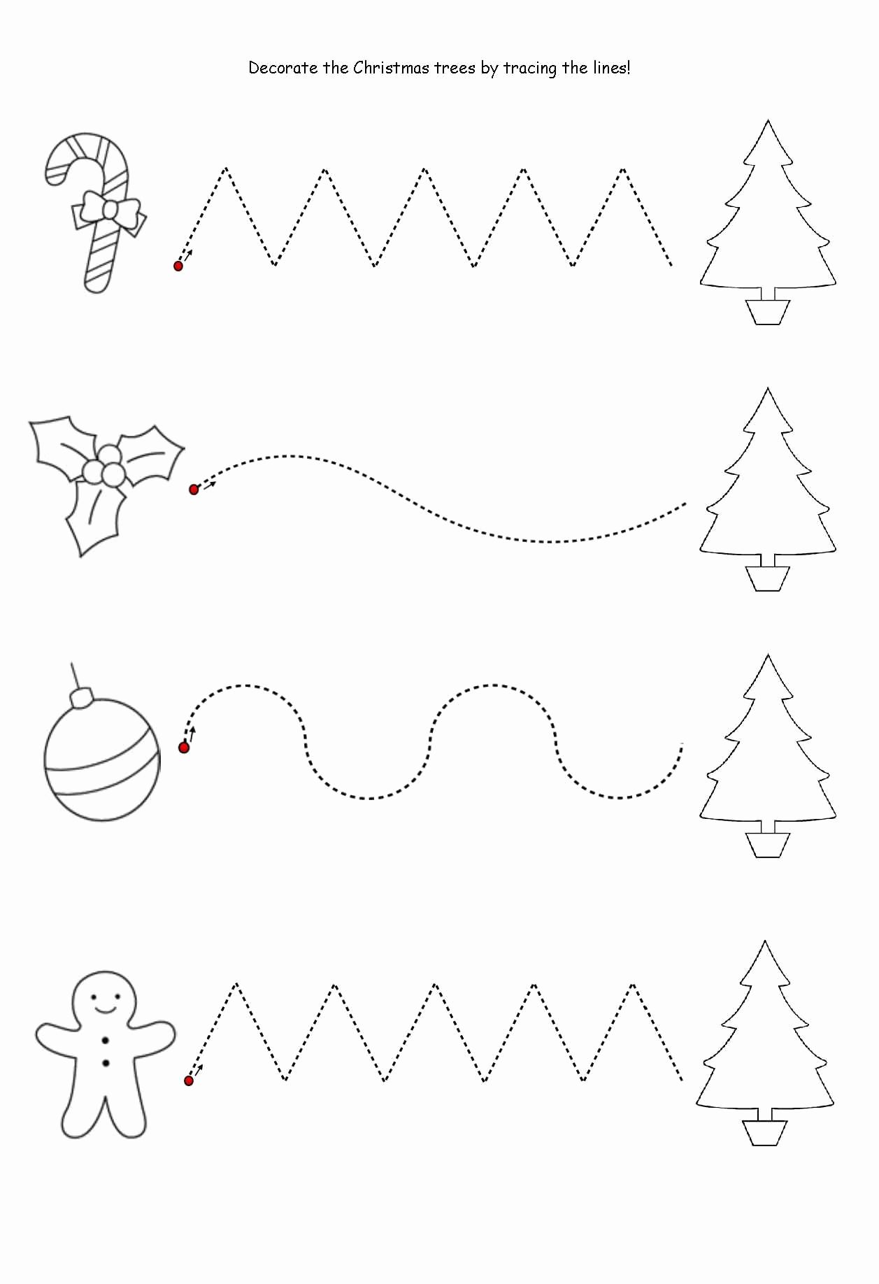 Line Pattern Tracing Preschool Worksheets   Christmas