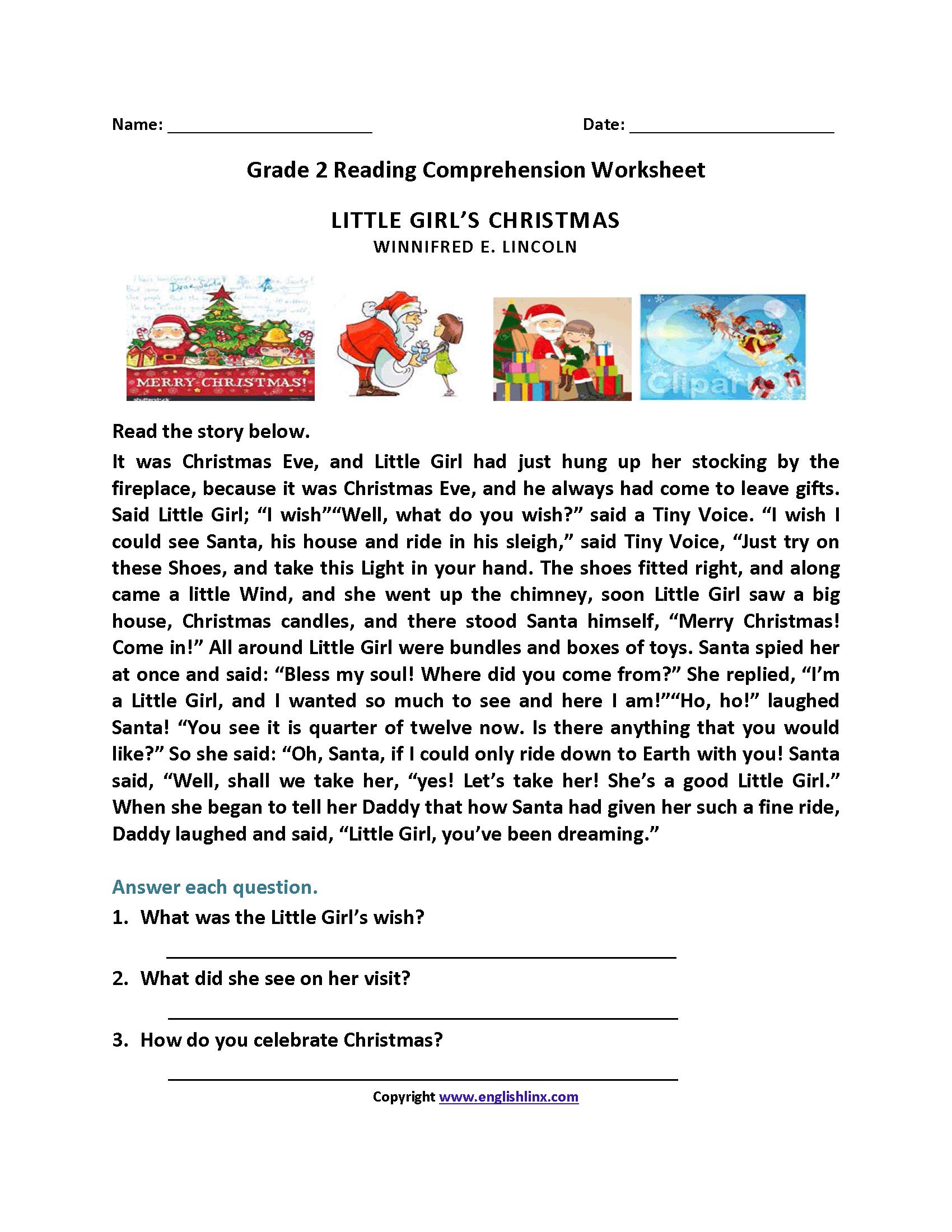 Little Girl's Christmas Second Grade Reading Worksheets