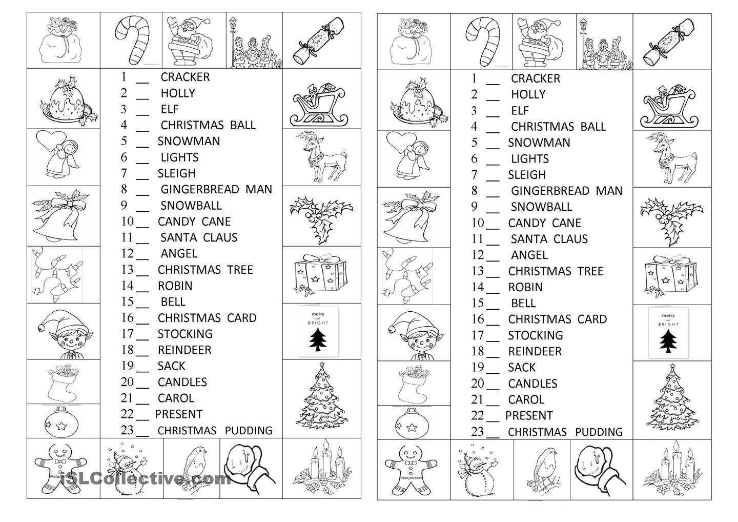 Look And Number The Christmas Symbols | Christmas Worksheets