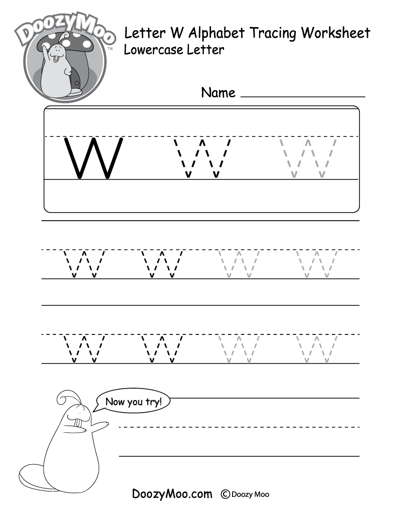 "Lowercase Letter ""w"" Tracing Worksheet - Doozy Moo"