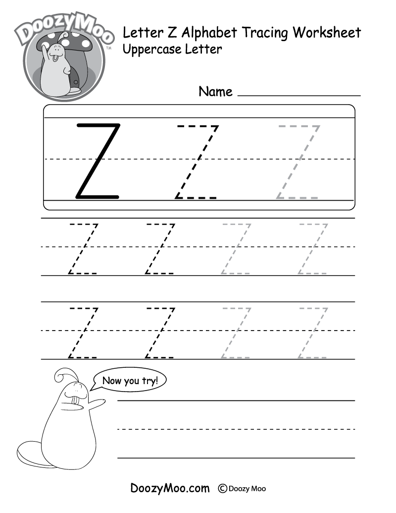 """Lowercase Letter """"z"""" Tracing Worksheet - Doozy Moo"""
