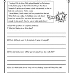 Math Worksheet ~ Christmas Comprehension Stories For Second