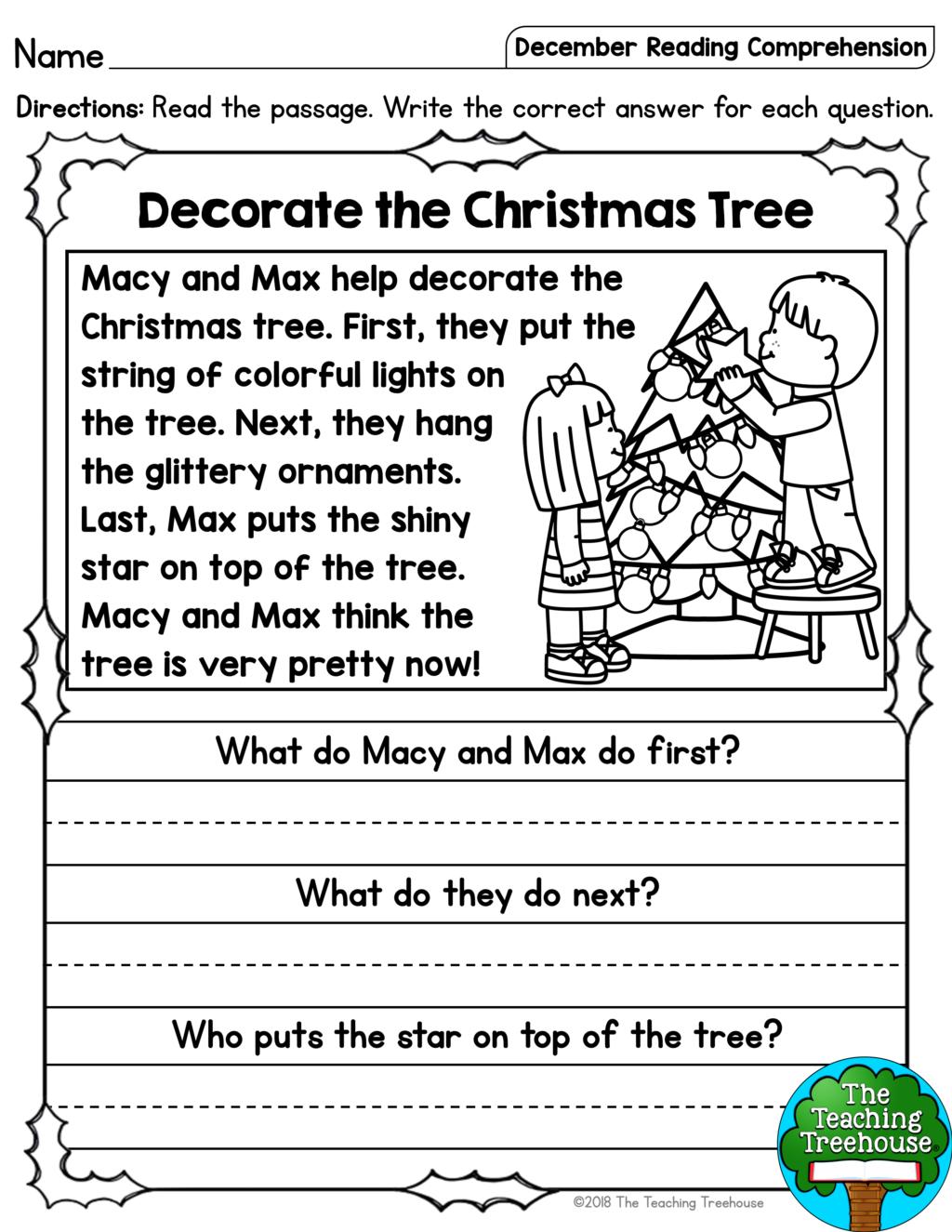 Math Worksheet ~ December Reading Comprehension Passages For