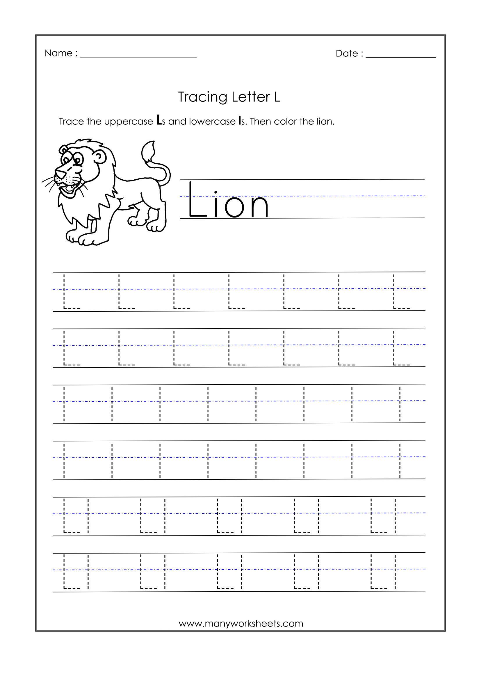 Math Worksheet : Letter L Worksheets Foren Trace Dotted
