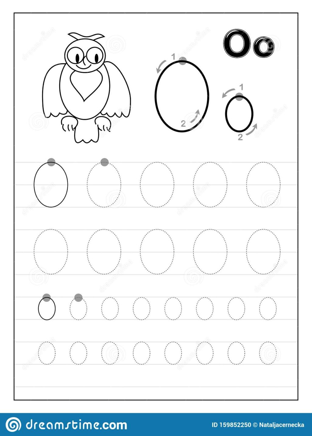 Math Worksheet ~ Tracing Alphabet Letter O Black White