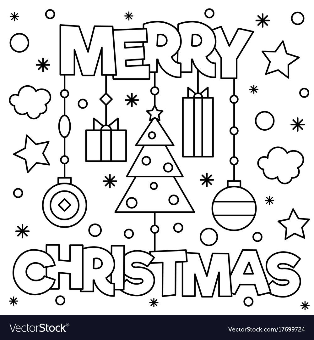 Merry Christmas. Coloring Page. Black And White Vector