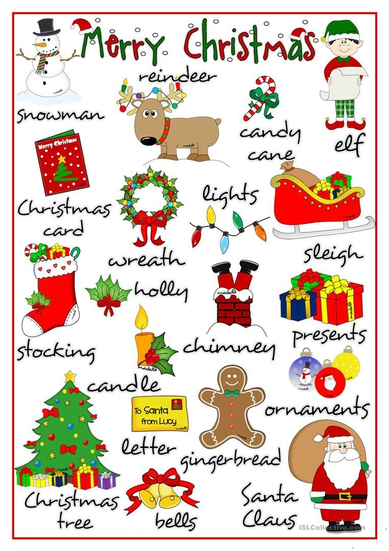 Merry Christmas - Pictionary Worksheet - Free Esl Printable