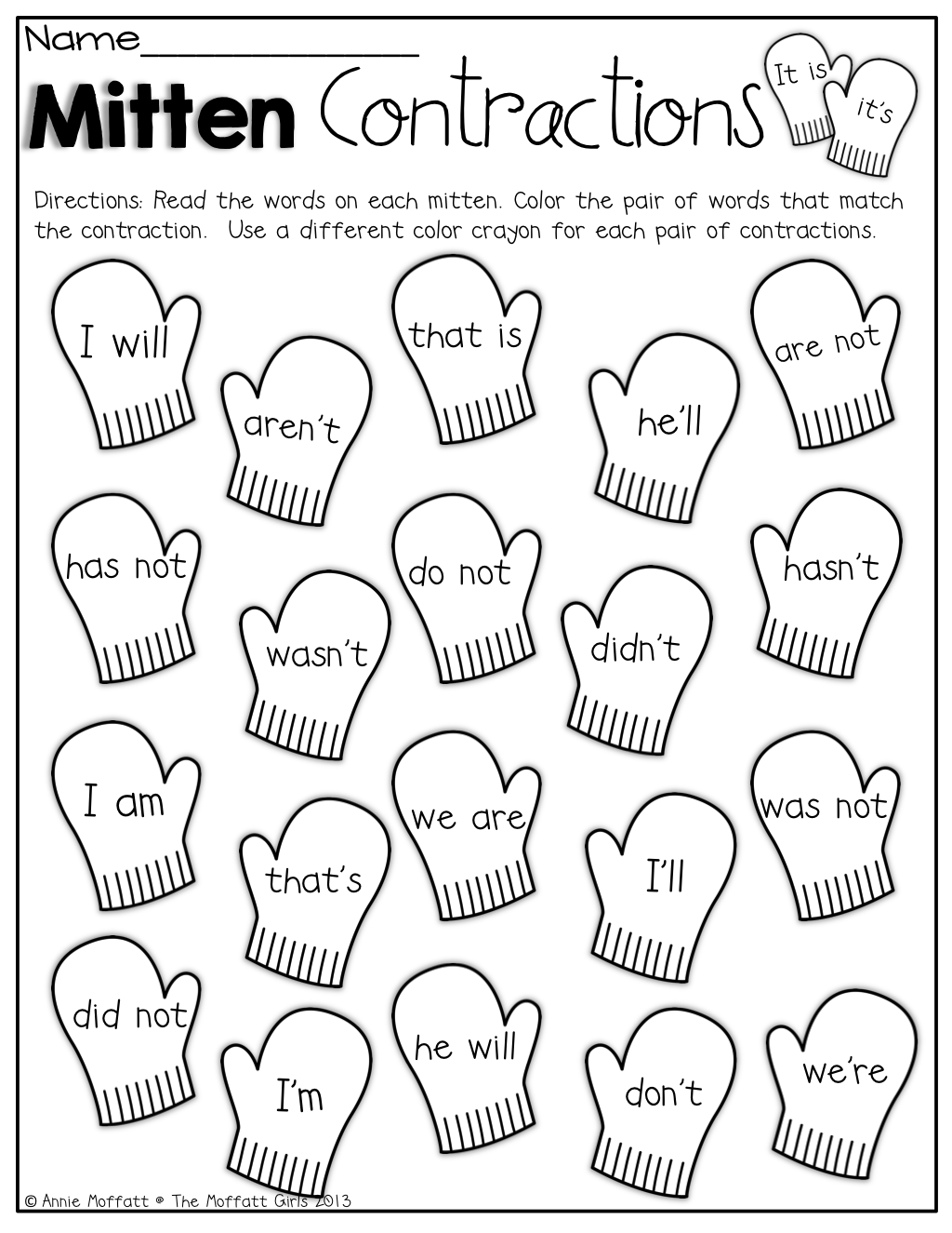 Mitten Contractions! Color The Pair Of Words That Match The