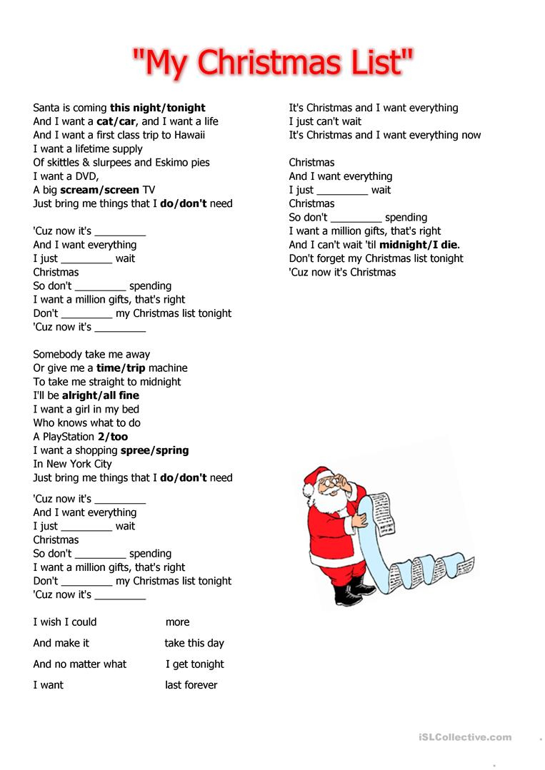 My Christmas List - English Esl Worksheets For Distance