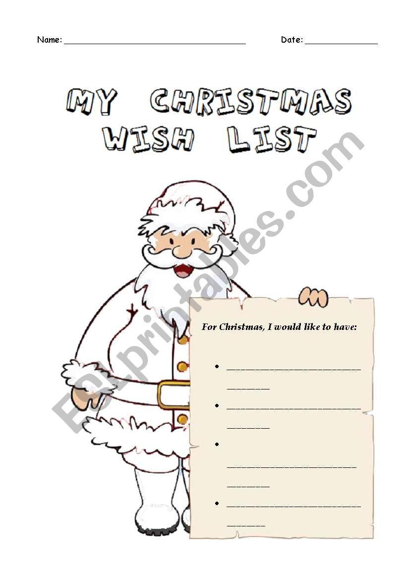 My Christmas Wish List - Esl Worksheetcarlaheaven