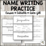 Name Cursive Writing Tracing Practice | Editable | Auto-Fill