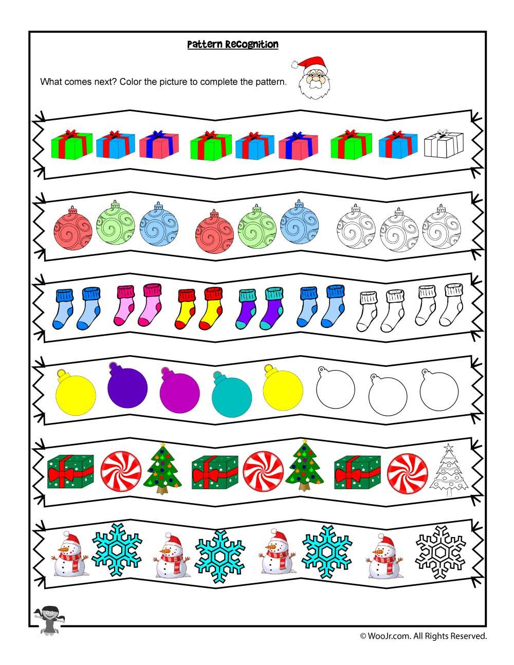 Pattern Recognition Christmas Coloring Worksheet | Woo! Jr