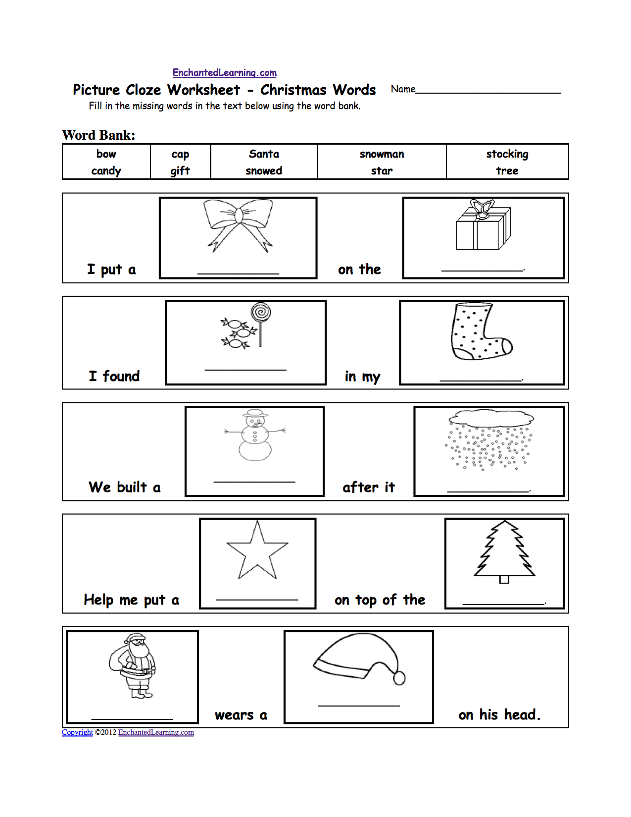 Picture Cloze Worksheet - Holiday And Seasons Words