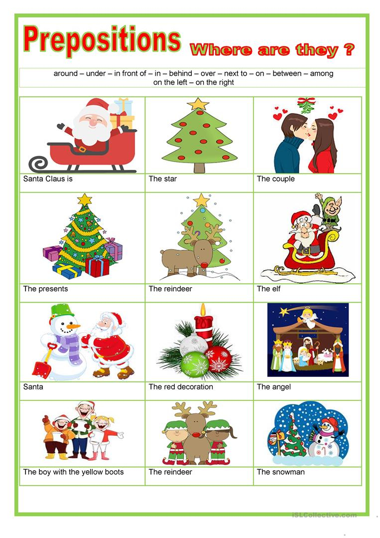 Prepositions - Christmas - English Esl Worksheets For