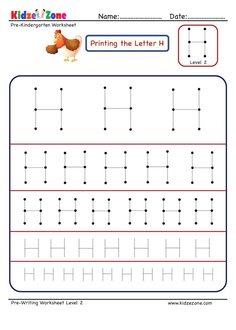 Preschool Letter H Tracing Different Sizes - Kidzezone
