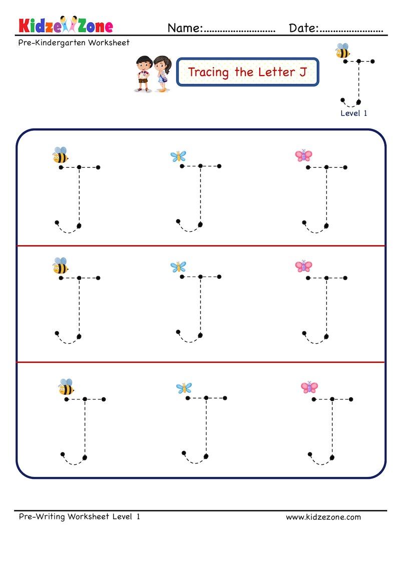 Preschool Letter J Tracing Worksheet, Big Font - Kidzezone